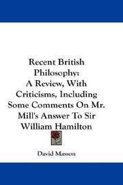 Cover of: Recent British philosophy