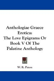 Cover of: Anthologiae Graece Erotica