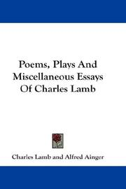 Cover of: Poems, Plays And Miscellaneous Essays Of Charles Lamb