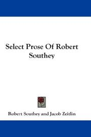 Cover of: Select Prose Of Robert Southey
