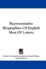 Cover of: Representative Biographies Of English Men Of Letters |
