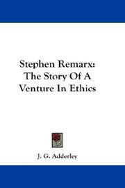 Cover of: Stephen Remarx | J. G. Adderley