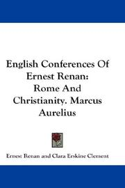 Cover of: English Conferences Of Ernest Renan