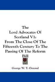 Cover of: The Lord Advocates Of Scotland V1