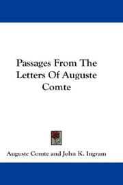 Cover of: Passages From The Letters Of Auguste Comte