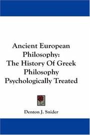 Cover of: Ancient European Philosophy