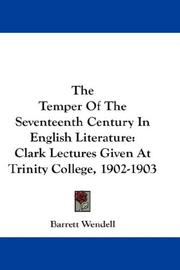 Cover of: The temper of the seventeenth century in English literature