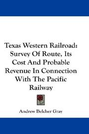 Cover of: Texas Western Railroad | Andrew Belcher Gray