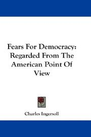 Cover of: Fears For Democracy