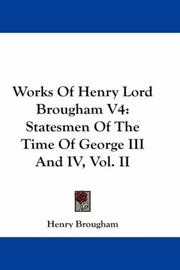 Cover of: Works Of Henry Lord Brougham V4
