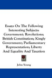 Cover of: Essays On The Following Interesting Subjects