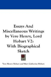 Cover of: Essays And Miscellaneous Writings by Vere Henry, Lord Hobart V2 | Vere Henry Hobart