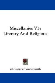 Cover of: Miscellanies V3