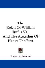Cover of: The Reign Of William Rufus V1