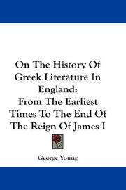 Cover of: On The History Of Greek Literature In England