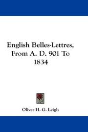 Cover of: English Belles-Lettres, From A. D. 901 To 1834