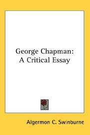 Cover of: George Chapman: a critical essay