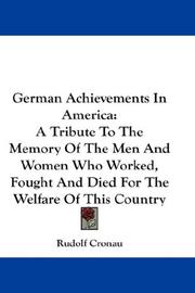 Cover of: German Achievements In America