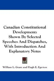 Cover of: Canadian Constitutional Development | William L. Grant
