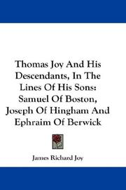 Cover of: Thomas Joy And His Descendants, In The Lines Of His Sons
