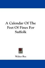 Cover of: A Calendar Of The Feet Of Fines For Suffolk