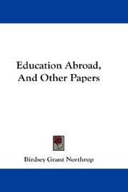 Cover of: Education Abroad, And Other Papers