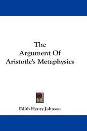 Cover of: The Argument Of Aristotle