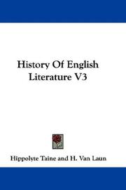 Cover of: History Of English Literature V3