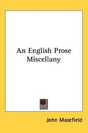 Cover of: An English Prose Miscellany | John Masefield