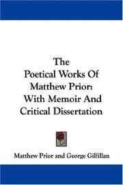 Cover of: The Poetical Works Of Matthew Prior by Matthew Prior