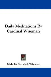 Cover of: Daily Meditations By Cardinal Wiseman
