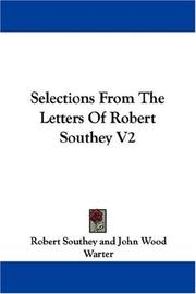 Cover of: Selections From The Letters Of Robert Southey V2