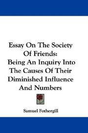 Cover of: Essay On The Society Of Friends