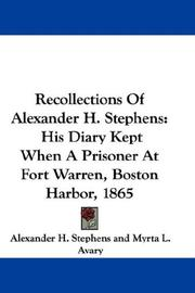 Cover of: Recollections Of Alexander H. Stephens