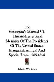 Cover of: The Statesman's Manual V1