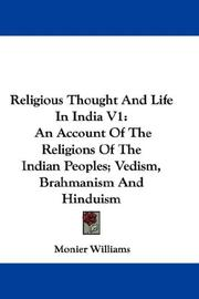 Cover of: Religious Thought And Life In India V1