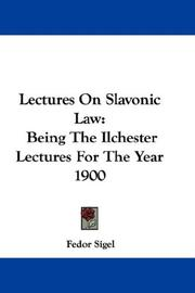Cover of: Lectures On Slavonic Law | Fedor Sigel