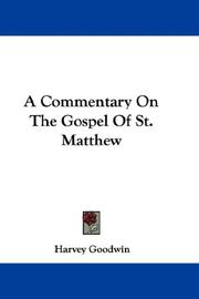 Cover of: A Commentary On The Gospel Of St. Matthew