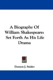 Cover of: A Biography Of William Shakespeare