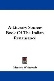 Cover of: A Literary Source-Book Of The Italian Renaissance