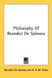 Cover of: Philosophy Of Benedict De Spinoza
