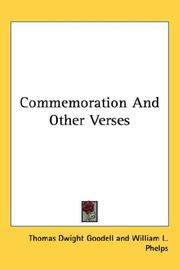 Cover of: Commemoration, and other verses