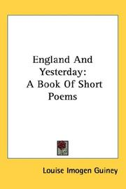 Cover of: England And Yesterday