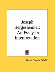 Cover of: Joseph Hergesheimer