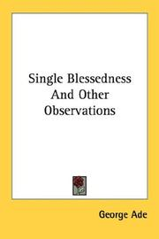 Cover of: Single Blessedness And Other Observations