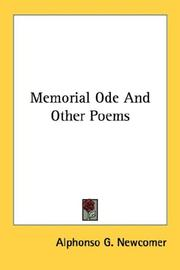 Cover of: Memorial Ode And Other Poems