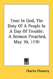 Cover of: Trust In God, The Duty Of A People In A Day Of Trouble