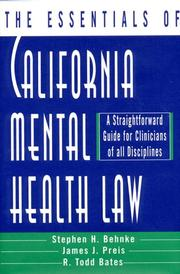Cover of: The essentials of California mental health law