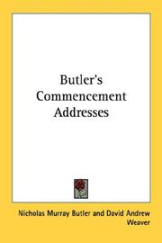 Cover of: Butler's Commencement Addresses