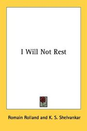 Cover of: I will not rest